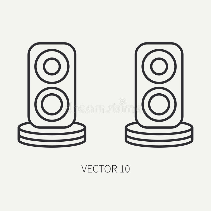 Alinhe oradores lisos do áudio do ícone da peça do computador de vetor Estilo dos desenhos animados Dispositivo do desktop do jog ilustração do vetor