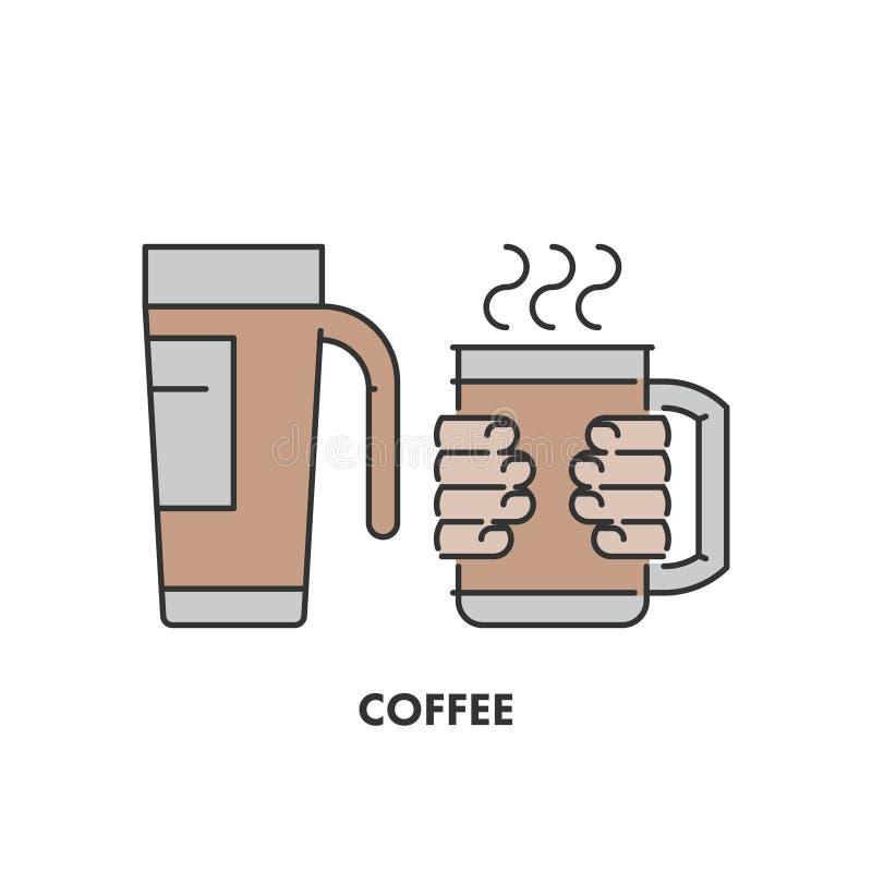 Alinhe os ícones caneca e café thermo na cor ilustração do vetor