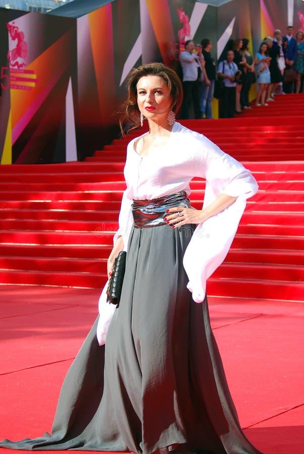 Alisa Khazanova au festival de film de Moscou image libre de droits