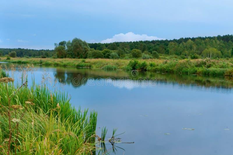 Alise o canal, o canal de Augustow, uma construção artificial do reservatório, rio liso longo imagens de stock royalty free
