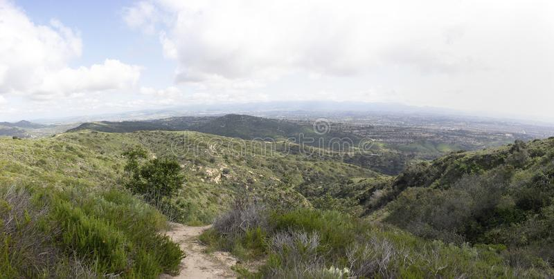 Fun and healthy family activities for the summer. Aliso & Woods Canyon Wilderness trail in the spring after a rainy season, Laguna Beach, CA hiking trails royalty free stock image