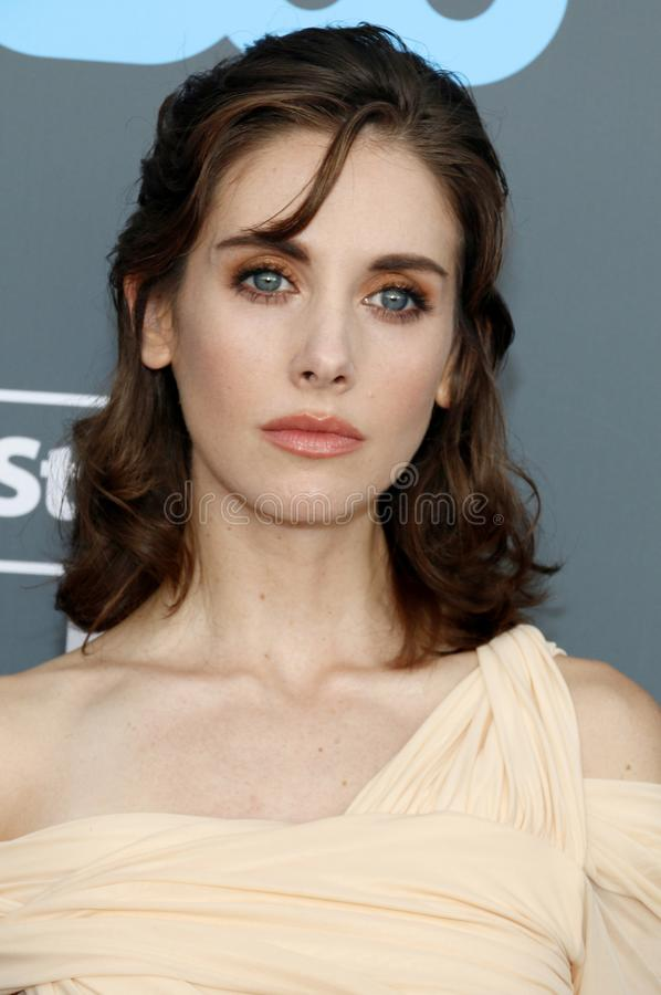 Alison Brie. At the 23rd Annual Critics` Choice Awards held at the Barker Hangar in Santa Monica, USA on January 11, 2018 royalty free stock photos
