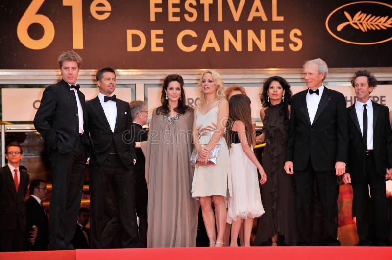 Alison Eastwood, Angelina Jolie, Brad Pitt, Brian Grazer, Clint Eastwood, Dina Eastwood, Kyle Eastwood imagens de stock