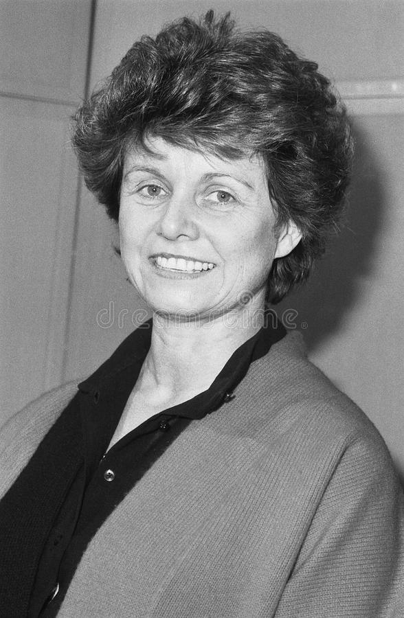 Alison McNair. Conservative party Parliamentary Candidate for Greenwich, attends a photo call in London, England on December 12, 1990 royalty free stock photo