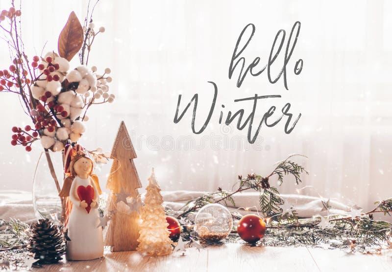 Aliste al invierno de la postal hola Vida festiva de la calma de la decoración de la Navidad el fondo de madera, concepto de como fotos de archivo