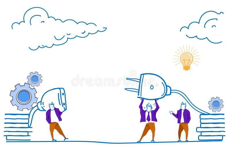 Aliste para conectar a hombres de negocios que la inserción eléctrica enchufa el concepto de trabajo atado con alambre enorme del libre illustration