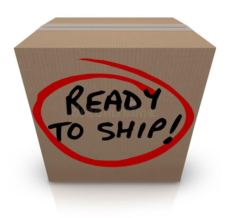 Aliste para enviar orden de envío del paquete de la caja de cartón en la acción ilustración del vector