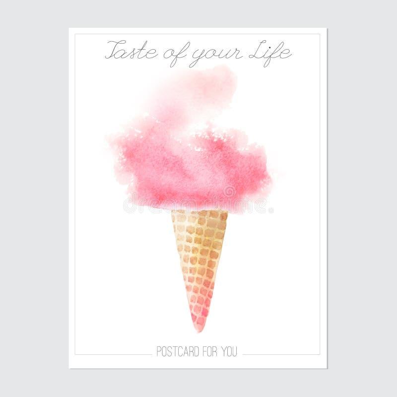Aliste para imprimir la postal con helado de la acuarela e inscriptio libre illustration