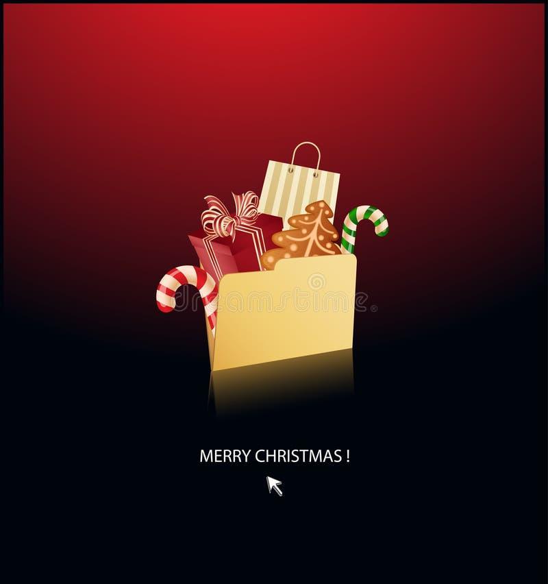 Aliste para la carpeta de la Navidad por completo de sorpresas ilustración del vector