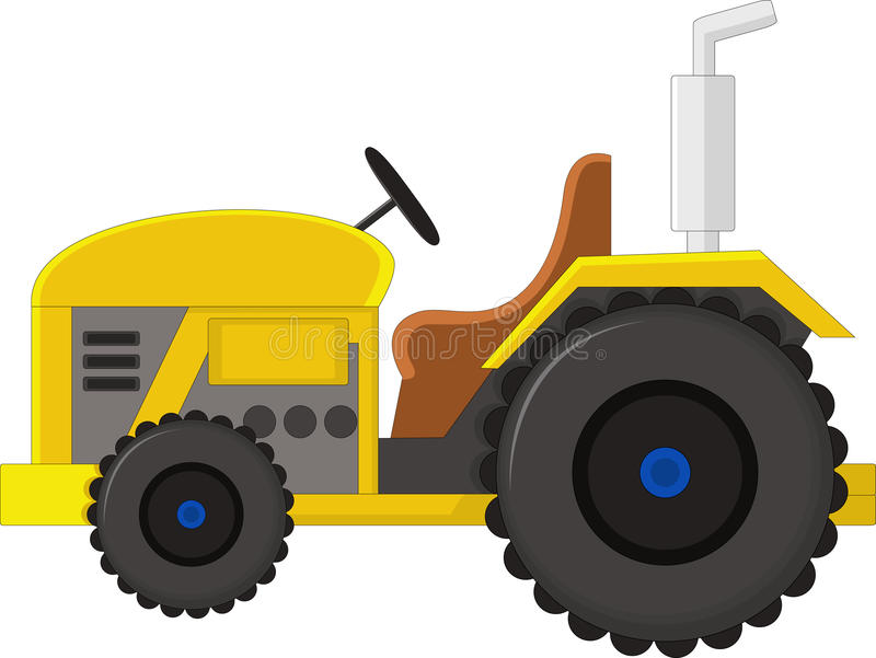 Alistic red tractor icon, logo, shape with big wheels isolated with smoke on white background vector illustration