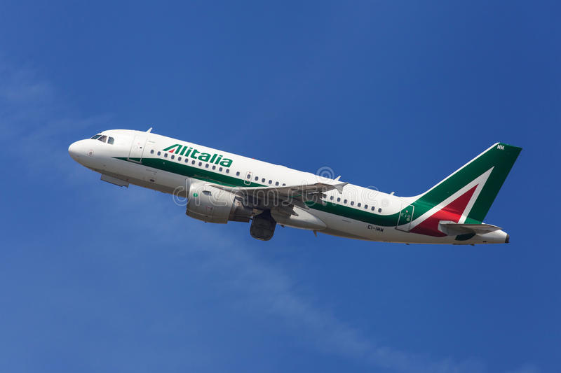 Alitalia Airbus A319. 100 taking off from El Prat Airport in Barcelona, Spain stock photos