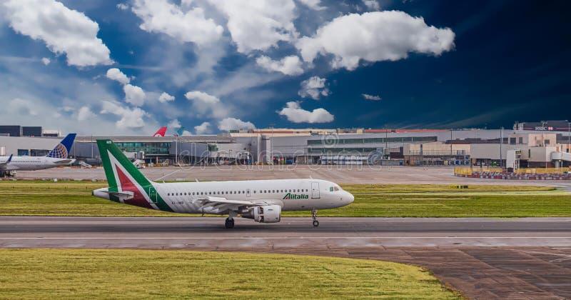Alitalia at Heathrow stock photography
