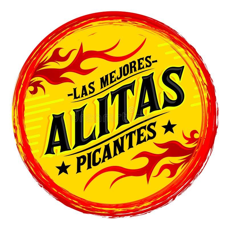 Alitas Picantes Las Mejores, el mejor español caliente de las alas de pollo manda un SMS ilustración del vector