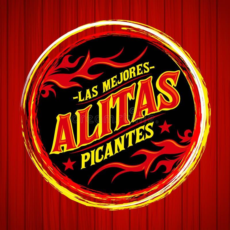 Alitas Picantes Las Mejores - les meilleurs Espagnols chauds d'ailes de poulet textotent illustration stock