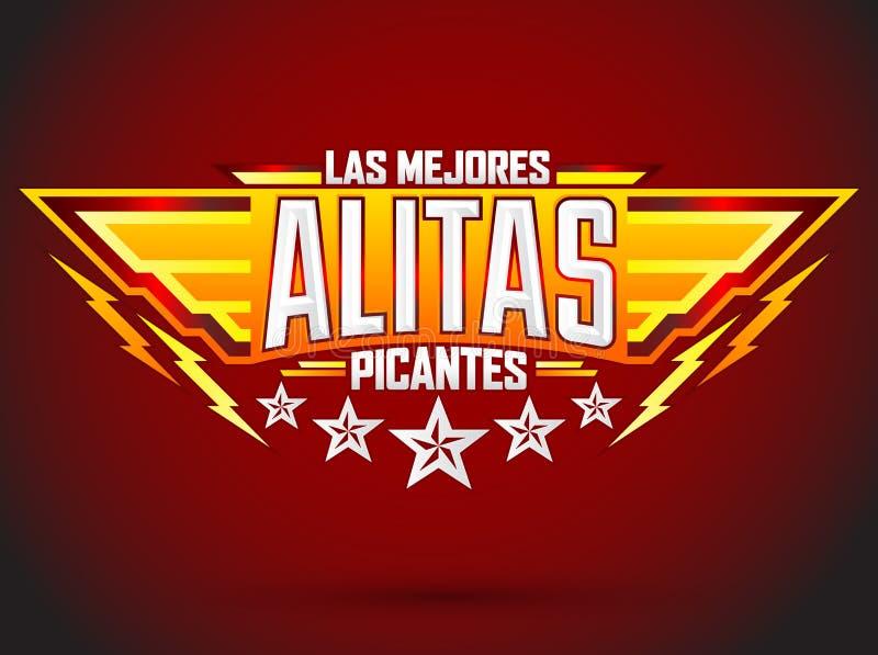 Alitas Picantes Las Mejores - najlepszy Gorący kurczaków skrzydeł hiszpański tekst ilustracja wektor