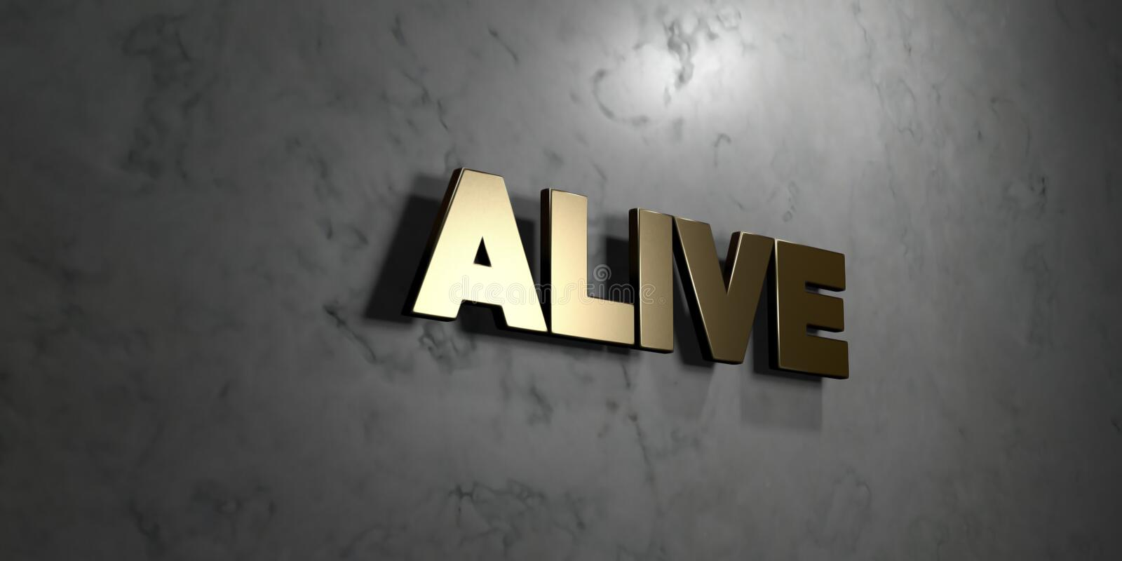 Alive - Gold sign mounted on glossy marble wall - 3D rendered royalty free stock illustration royalty free illustration