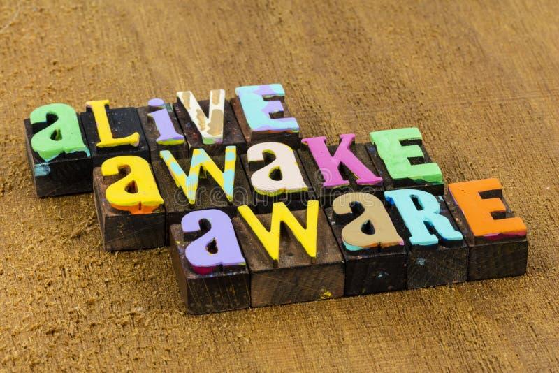 Alive sveglio spirito consapevole saggezza atteggiamento positivo crede immagini stock libere da diritti