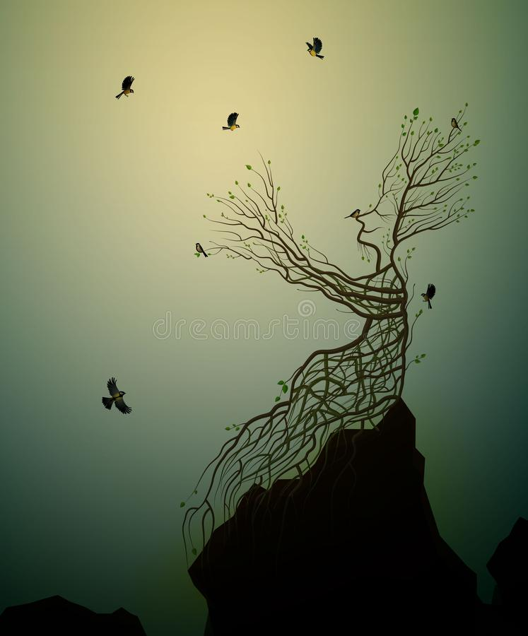 Alive tree on the rock and titmouse, tree soul, man like tree giving his hand branch to flying birds, fairytale royalty free illustration