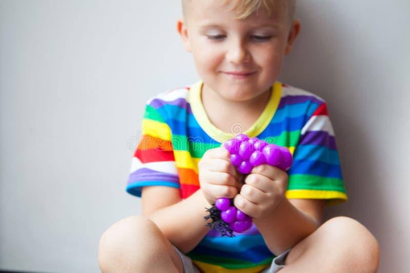 Alivio anti del apretón del humor del autismo de la bola de la uva del mitigador de la cara de la tensión foto de archivo libre de regalías