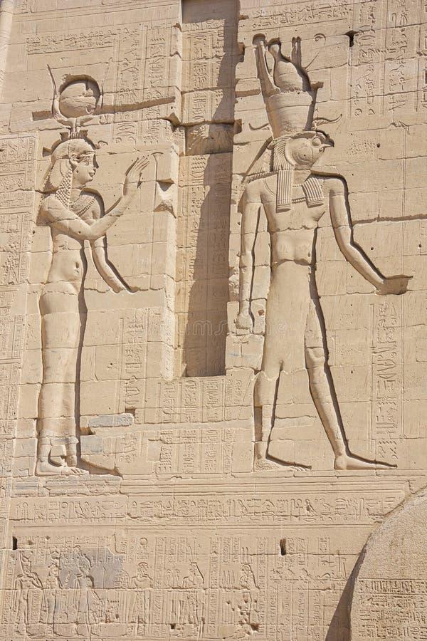 Alivio de Bas de Hathor y de Horus foto de archivo