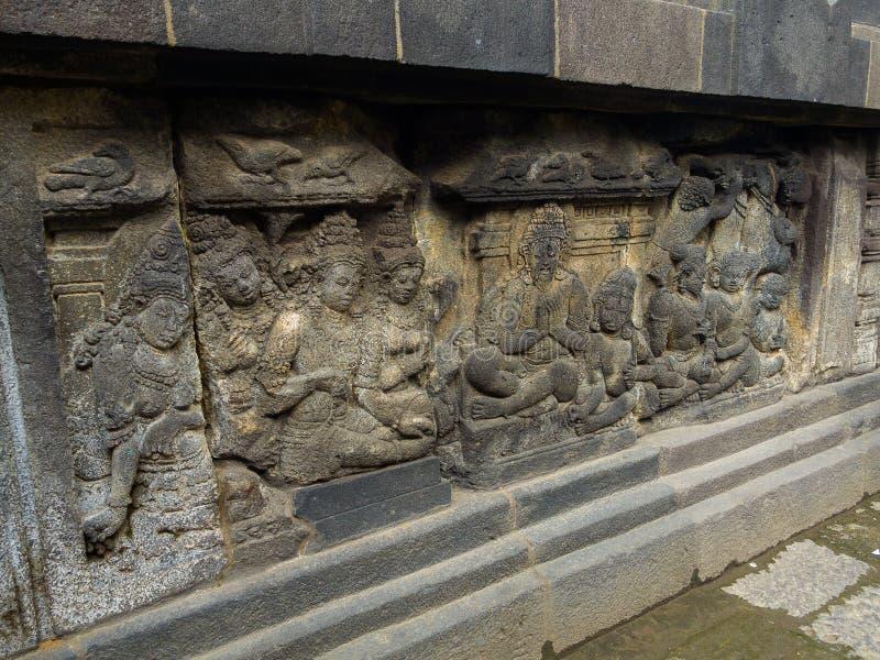 Alivio de Bas, templo de Borobudur, ubicación en Java central fotografía de archivo