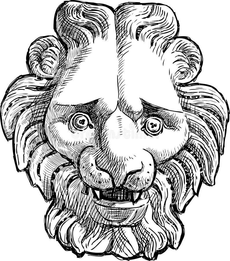 Alivio de la cabeza del león en el edificio viejo stock de ilustración