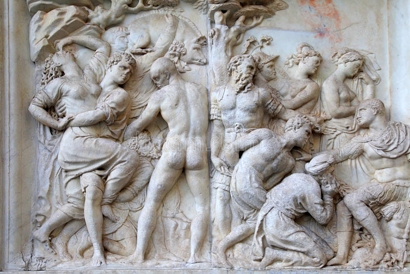 Alivio romano antiguo, Florencia, Italia imagen de archivo libre de regalías