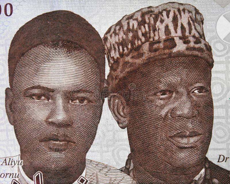 Aliyu Mai-Bornu and Clement Isong portrait on Nigerian 1000 nair stock photography