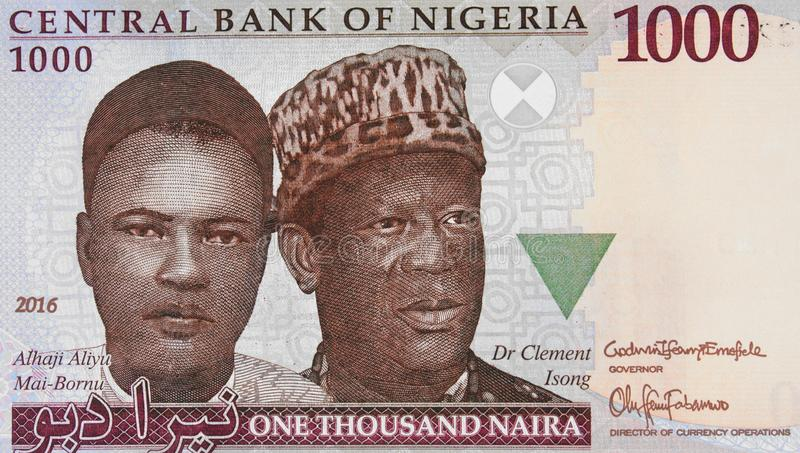 Aliyu Mai-Bornu and Clement Isong portrait on Nigerian 1000 nair stock image