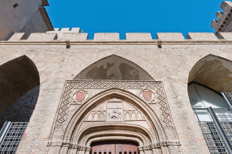 Aljaferia宫殿在萨瓦格萨,西班牙 免版税库存照片