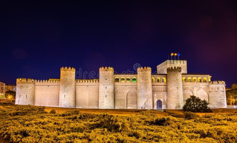 Aljaferia, het Arabische paleis in Zaragoza, Spanje stock afbeeldingen
