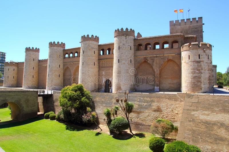 Aljaferia palace castle in Zaragoza Spain Aragon stock photography
