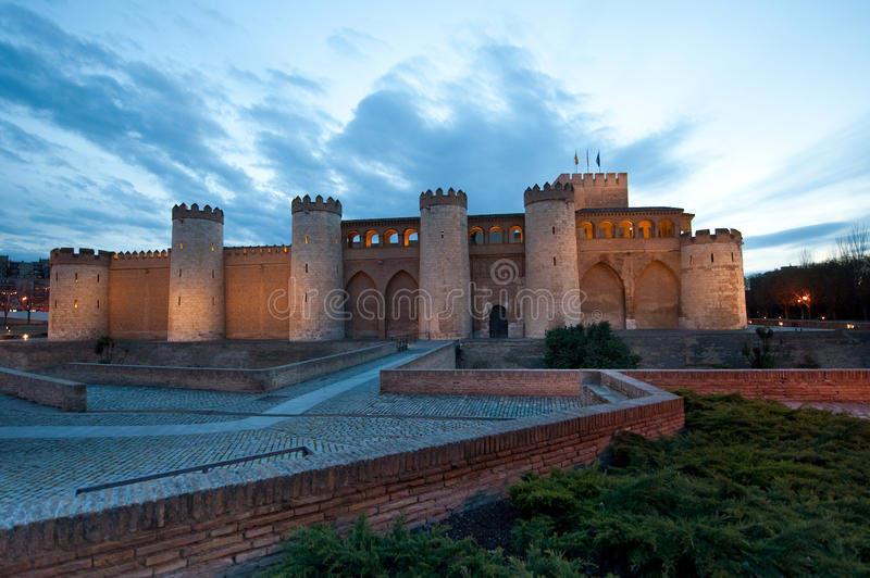 Aljaferia palace in Zaragoza royalty free stock photography