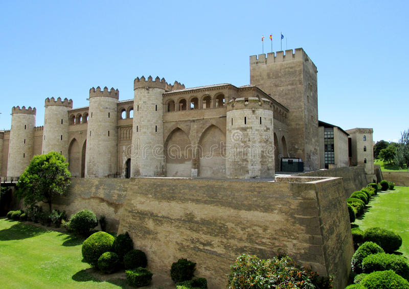 Aljaferia Palace in Zaragoza, Spain. Aljaferia Palace fortified medieval Islamic palace in Zaragoza, Spain. Ancient huge medival castle, fortificacion wall royalty free stock image