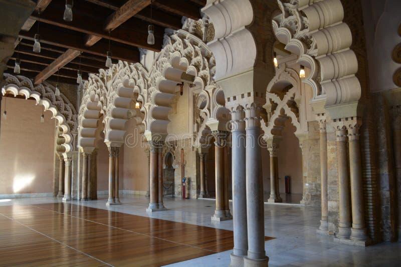 Aljaferia wnętrze, Zaragoza, Hiszpania fotografia royalty free
