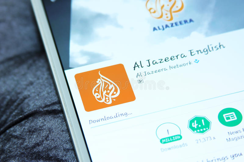 Aljazeera news mobile app stock photos
