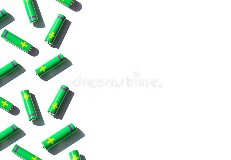 Alkaline AA batteries seamless pattern on the white background. Top view. stock illustration