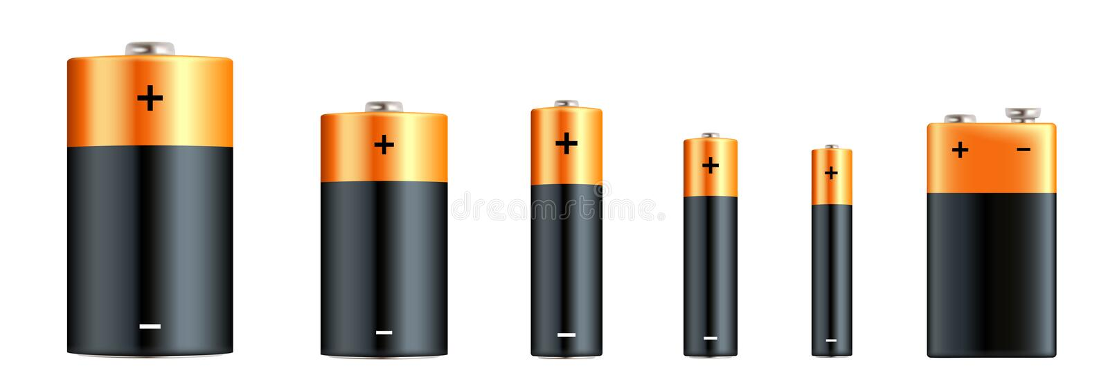Alkaline batteries realistic set. Types of batteries. Size - D, C, AA, AAA, AAAA, PP3. Alkaline battery set with diffrent size - stock image