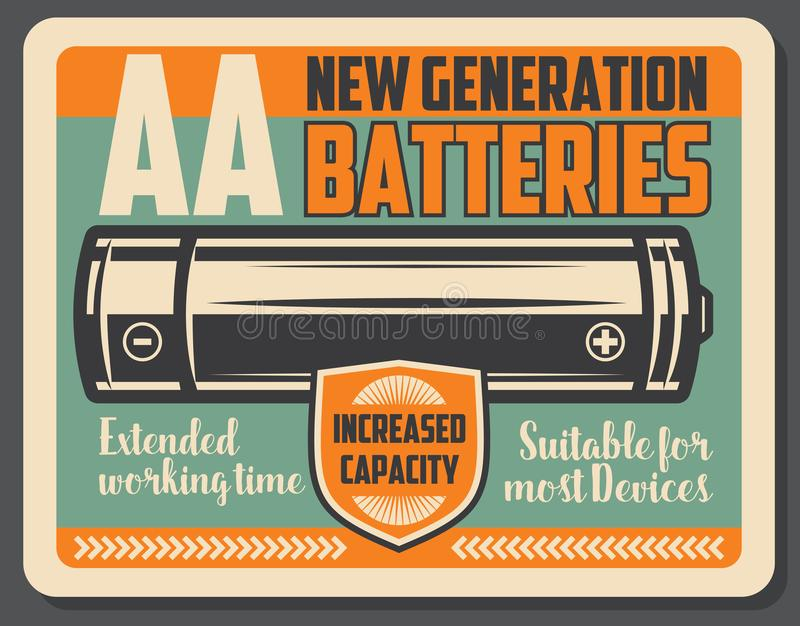 Alkaline electric battery retro signboard. Electric battery retro signboard, power supply device. Alkaline energy battery with vintage shield. Power accumulator royalty free illustration