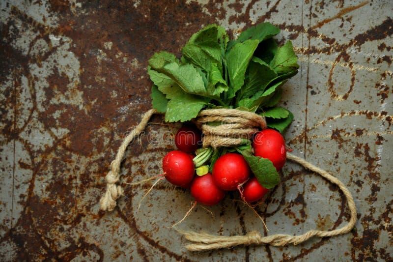 Alkaline, healthy food ingredient : radish. Alkaline, healthy food : radish on a vintage board . Healthy , green veggie concept. Alkaline , natural , organic stock images