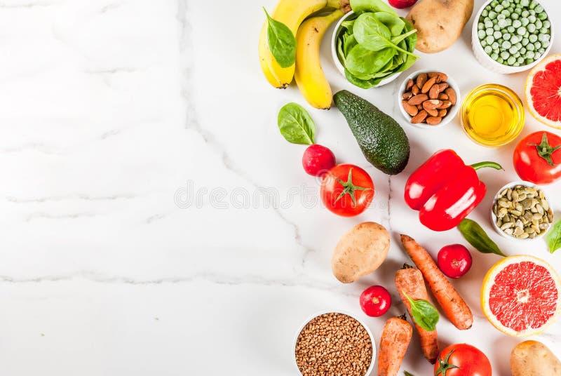 Alkalische dieetingrediënten stock afbeelding