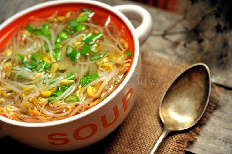 Alkalische, gezonde lunch: de soep en het brood van de sojabonenspruit stock fotografie