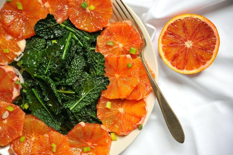 Alkalisk, sund enkel mat: grönkål och röd blodapelsinsallad royaltyfri foto