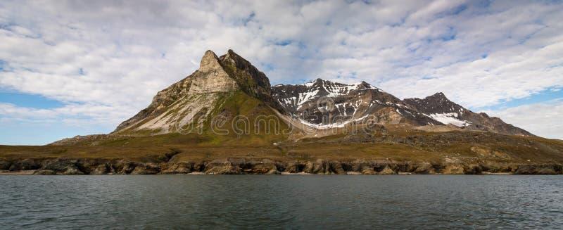 Alkehornet, Alkhornet, Alkepynten Гора птицы в Свальбарде, Норвегии панорама стоковое изображение
