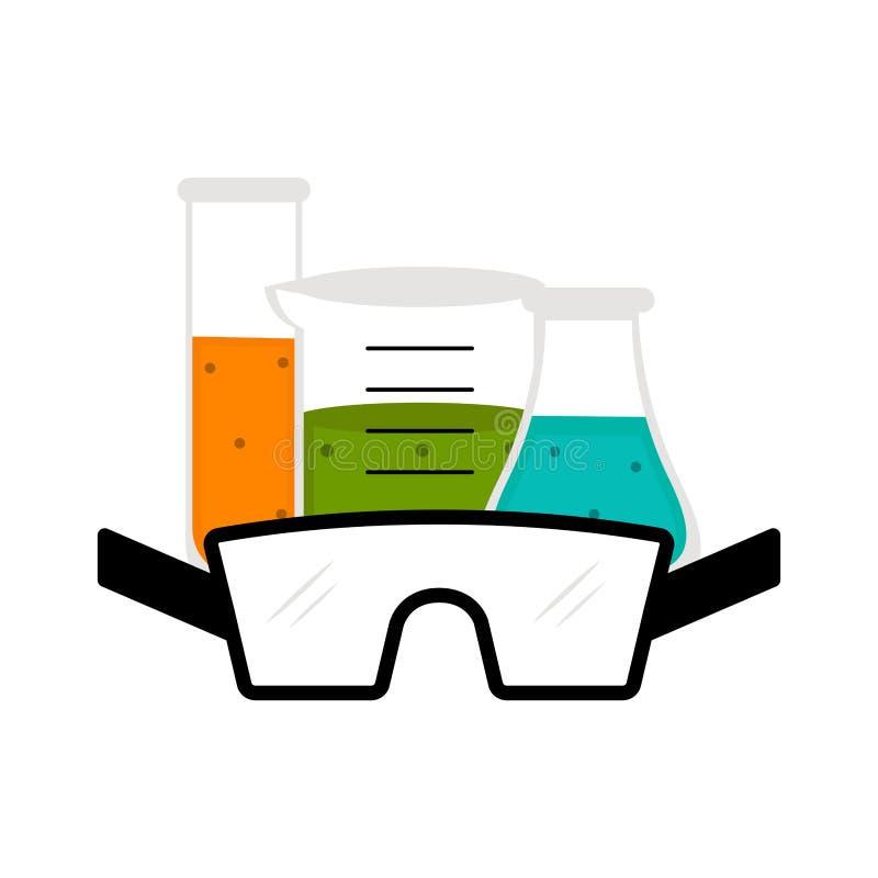 Alkemidrycker med en labbexponeringsglassymbol vektor illustrationer
