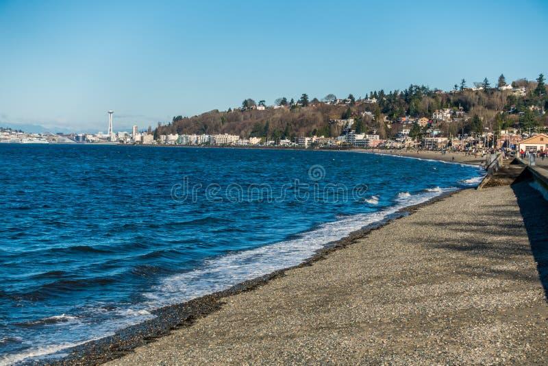 Alki Beach a Seattle ad ovest, Washington fotografia stock libera da diritti