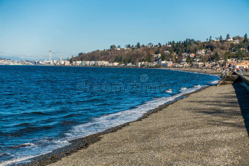 Alki plaża w Zachodnim Seattle, Waszyngton zdjęcie royalty free