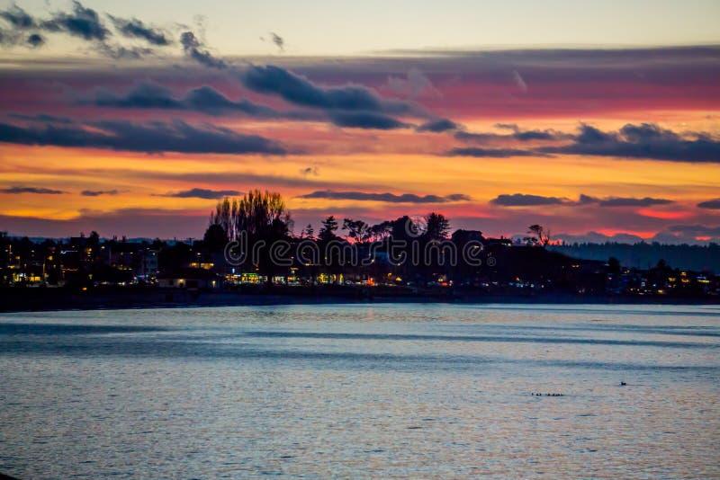 Alki Sunset variopinto 5 fotografia stock libera da diritti