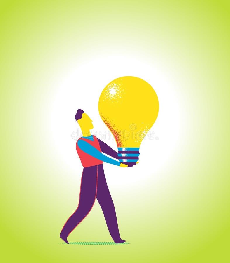 Alking sur le chemin inspiré Apportez l'idée à la société illustration libre de droits