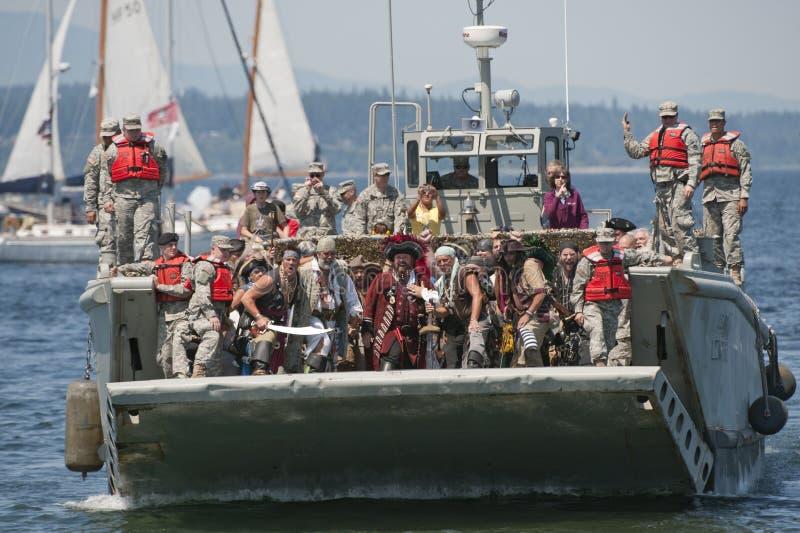 alkistrandlandning piratkopierar seafair royaltyfria bilder